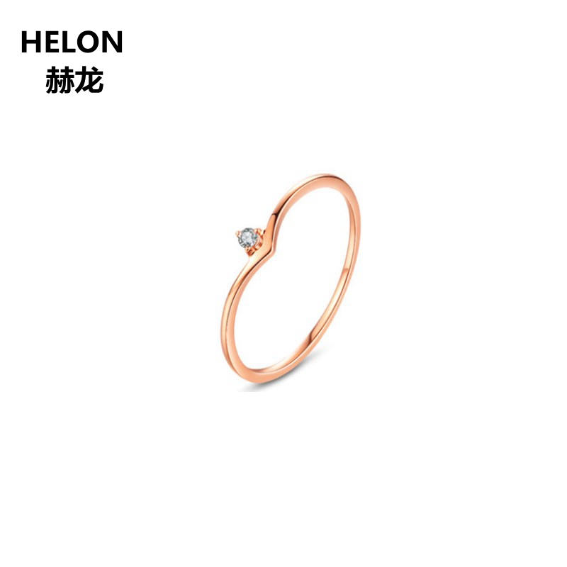 Solid 14k Rose Gold SI/H Full Cut Natural Diamonds Ring for Women Engagement Wedding Band Fine Jewelry solid 14k rose gold 4 5mm round cut natural morganite engagement ring si h full cut natural diamonds wedding ring fine jewelry