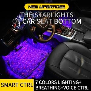 Image 3 - Tak Wai Lee 4 قطعة USB LED مقعد السيارة أسفل الغلاف الجوي النجوم شريط إضاءة بألوان أحمر وأخضر وأزرق التصميم بريتينغ صوت بعيد CTRL مصباح داخلي