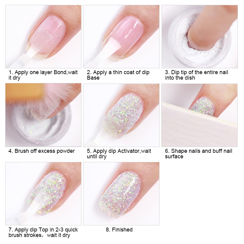 Image 2 - NICOLE DIARY 10g Pure Nail Color Dipping Glitter Gradient French Dip Nail Powder Natural Dry Manicure Art Chrome Dust Pigment-in Nail Glitter from Beauty & Health
