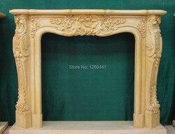 Custom made cornija de lareira de pedra natural esculpida moldura de mármore sala de estar estilo Europeu decoração personalizar chaminé