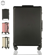 """2019 High Quality Unisex 360° Dual Mute Spinner Wheels Suitcase 20"""" Aluminum Frame Water-proof Rolling Luggage For Modern Yong"""