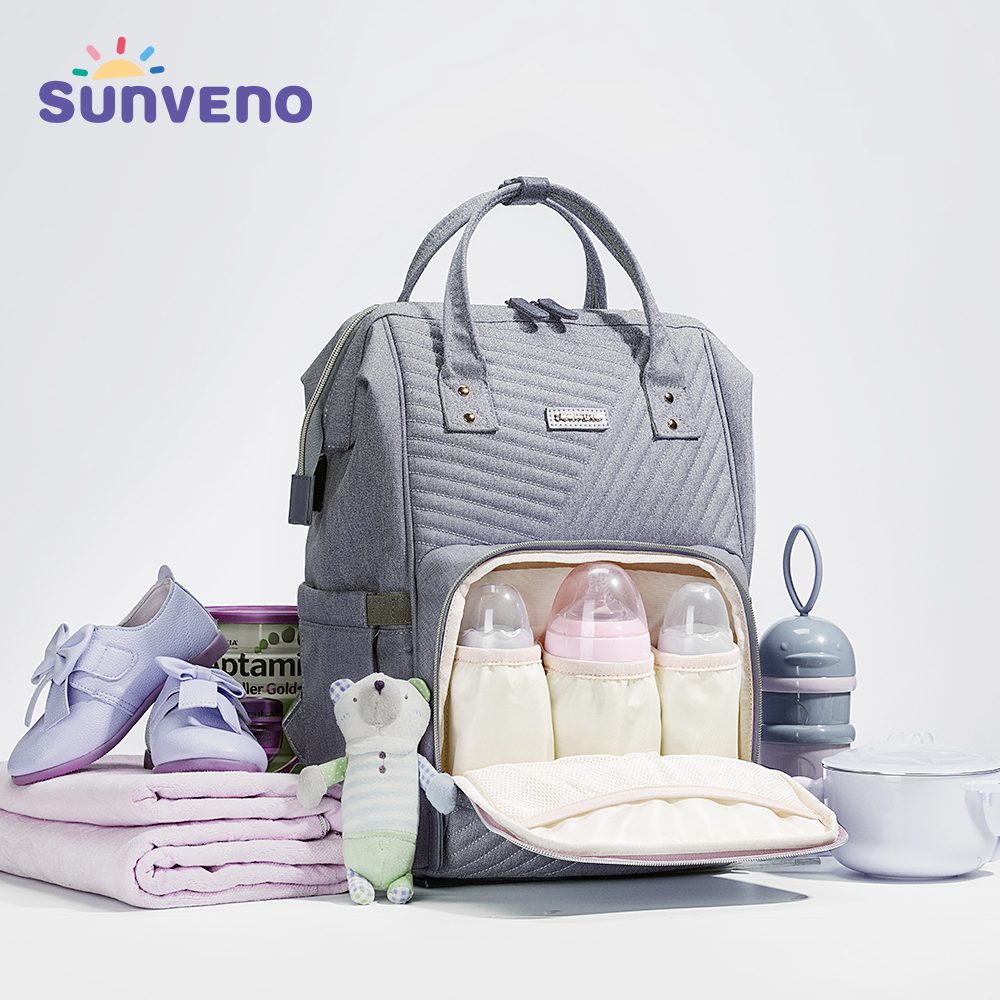 Sunveno Waterproof Diaper Bag Backpack Quilted Large Mum Maternity Nursing Bag Travel Backpack Stroller Baby Bag
