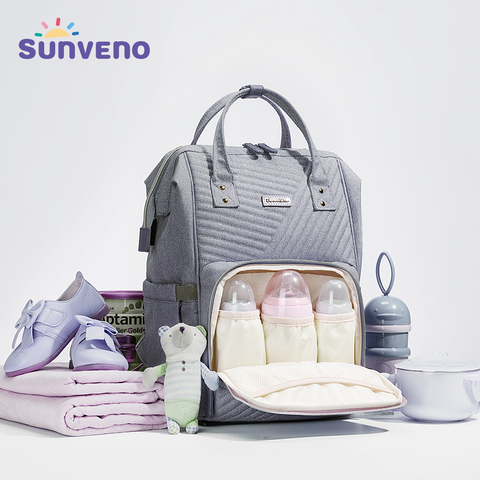 Sunveno Waterproof Diaper Bag Backpack Quilted Large Mum Maternity Nursing Bag Travel Backpack Stroller Baby Bag Nappy Baby Care Pakistan