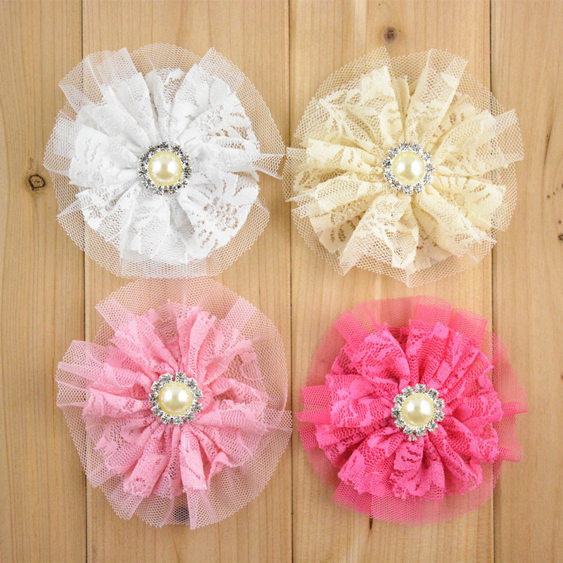 wholesale 100 pcs/lot , Double Layered Lace Flowers with pearl accent   3.5 inches  PICK COLORS-in Hair Accessories from Mother & Kids    1