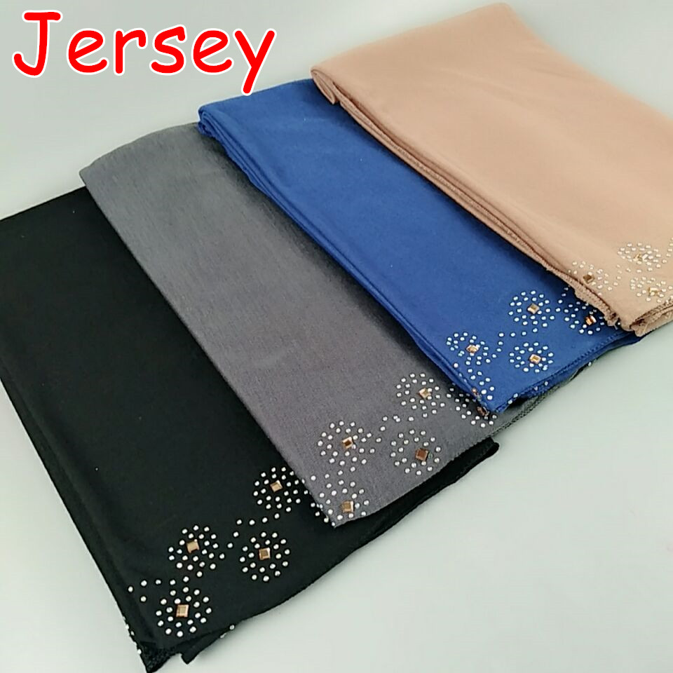 D3 High quality flower bead rainstone Jersey shawl hijab women   scarves     scarf     wrap   headband 180*80cm
