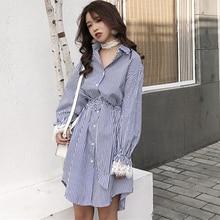 QLZW Korean Spring Clothes 2018 New Pattern Stripe Lace Cuff Split Joint Turn-down Collar Women Fashion Dress With Belt WA21805