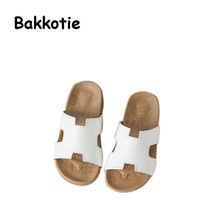 Bakkotie 2017 New Child Summer Baby Casual Flat Shoes Genuine Leather Black Girl Slippers Kid Brand Slides Slip On White Mules