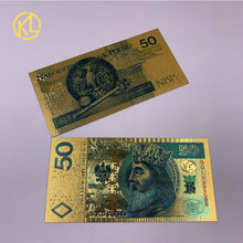 1 pc 50 PLN Colorido Banhado A Ouro Notas Poland Réplica Poland Lembrança de Plástico Falso Dinheiro para presentes e Coleção