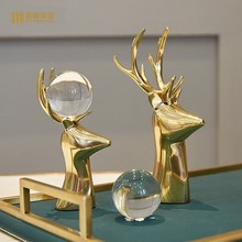 Creative Copper deer Crystal ball figurines home decor crafts room decoration study ornament office copper animal statue