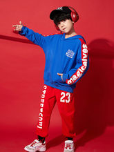 Children's street dance costume boy hip hop print hooded jacket suit hiphop boy handsome performance show costume(China)