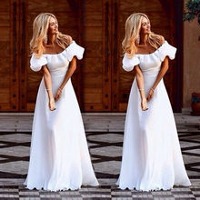 2018 Summer New Female Casual Dress Sexy Slash Neck Off Shoulder Ruffles White Long Maxi Dress Women Party Club Dresses ruffles slash neck women dress summer style off shoulder sexy dresses vestidos white tube beach dress cotton 2016 new