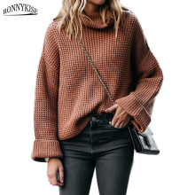 RONNYKISE Turtleneck Sweaters Women Fashion Long Sleeve Loose Autumn Winter Wearm Pullover Sweater Clothes