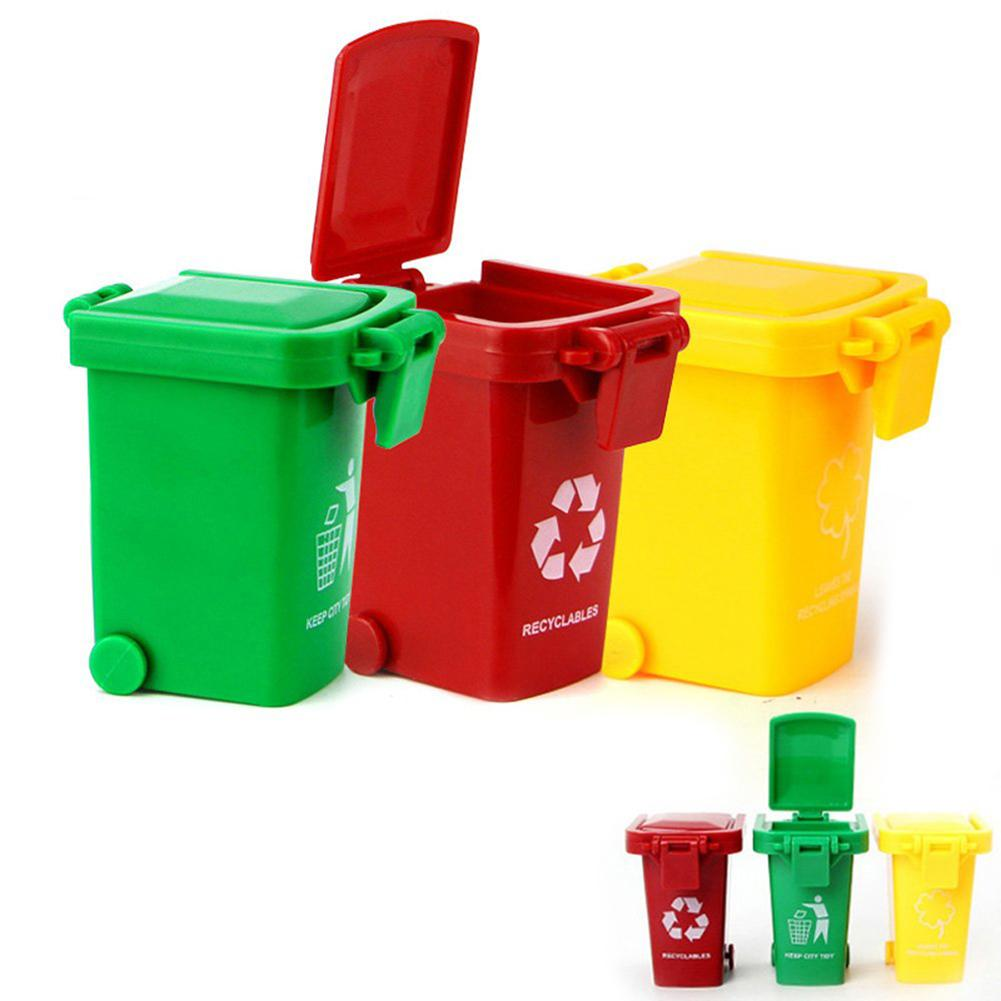New 3Pcs/Set Bright Color Kids Push Toy Plastic Vehicles Garbage Truck Trash Cans