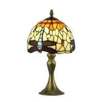 Tiffany Style Table Lamps DragonFly Colorful Glass Lamp Shade Night Lights Suitable for Indoor Foyer Study Bed Room free shiping