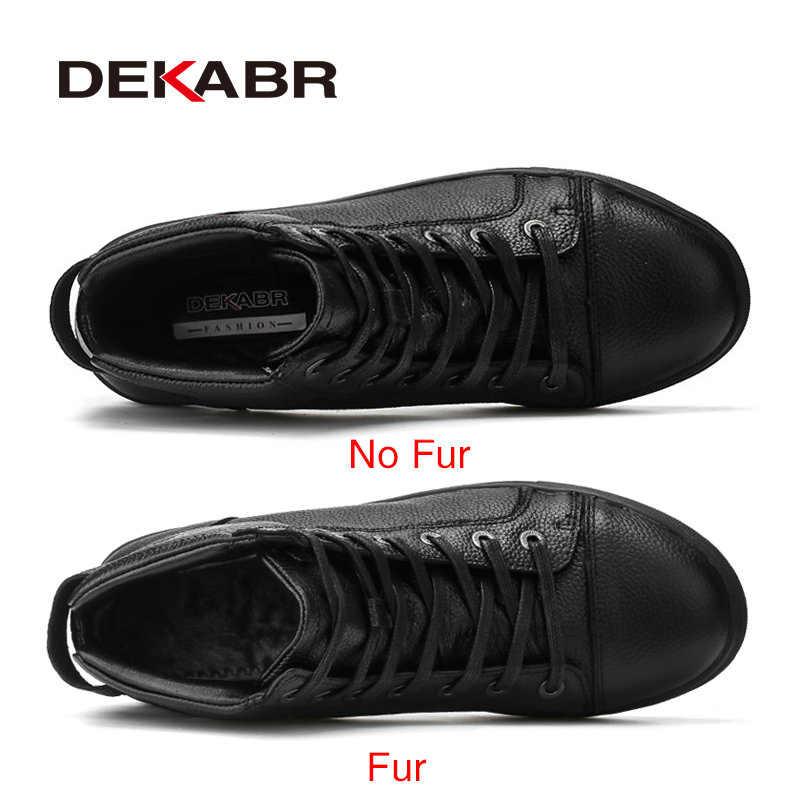 Мужские водоотталкивающие ботинки DEKABR, черная модная повседневная обувь из натуральной кожи до щиколотки, с высоким берцем, размеры 38-48, осень-зима 2019