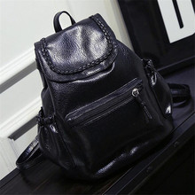2017 НОВЫЙ дизайн женщина простой маленький черный рюкзак туризм рюкзак Промывают кожа PU кожа мягкое тесто рюкзак женская мода