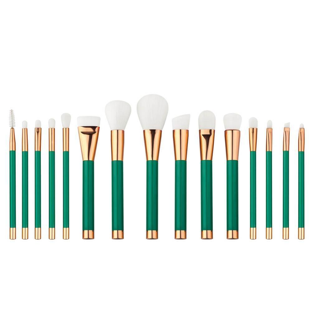15pcs Professional Makeup Brushes Set Powder Foundation Eyeshadow Lip Brush Tool Green Brush Set RP2