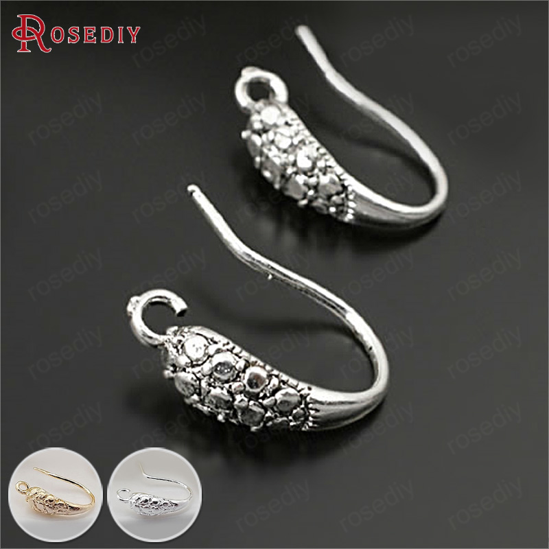 (28034)10PCS Height 15MM Antique Silver Brass Earring Hook Diy Jewelry Findings Earrings Accessories Wholesale