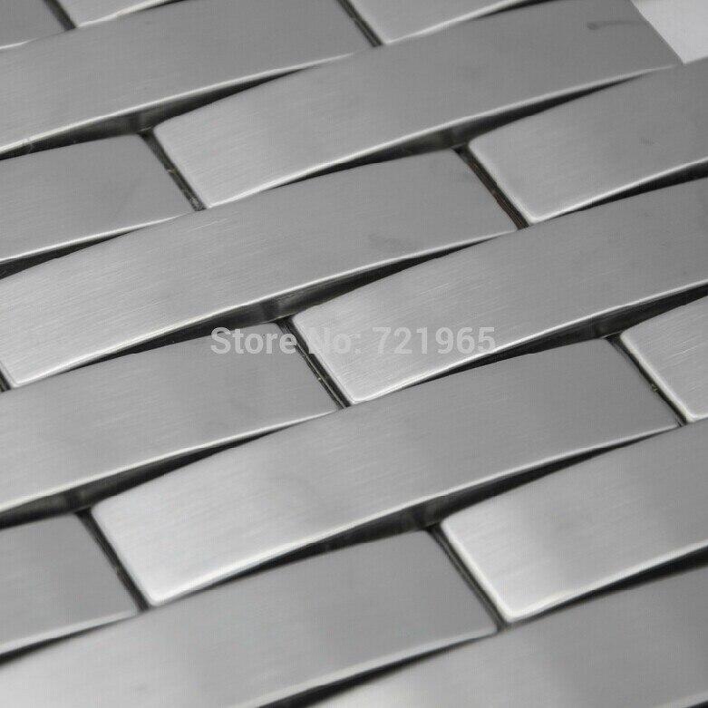 Brushed Stainless Steel Backsplash: Arched Metal Mosaic Wall Tile Backsplash SMMT063 Silver