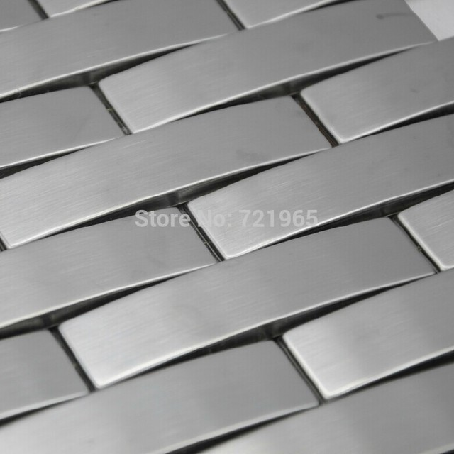 Arched metal mosaic wall tile backsplash SMMT063 silver brushed
