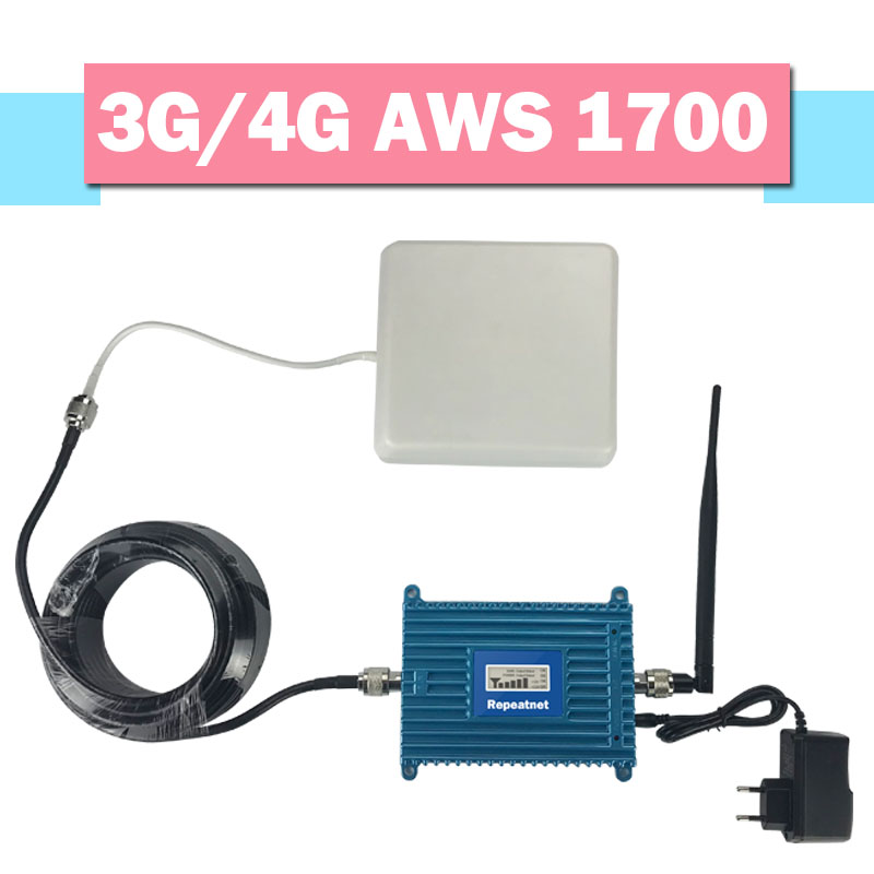 Walokcon Powerful 70dB Gain 3G 4G Band 4 1700/2100MHz Signal Booster LTE UMTS AWS 1700mhz Cellular Amplifier 4G Signal Repeater