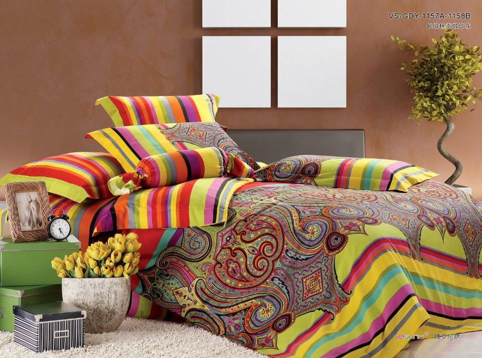 Luxury Egyptian Cotton satin Paisley Bedding set Bohemia King Queen size bedspread bed sheet sheets duvet cover wedding Boho