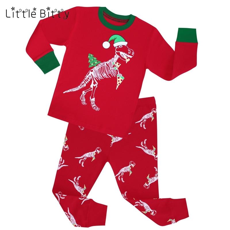 Немного неровный 2017 Дети Рождество динозавров Олень пижамы хлопок детские пижамы  длинные рукава для маленьких девочек мальчиков ночное белье Пижамный ... 3a08d811cfec7