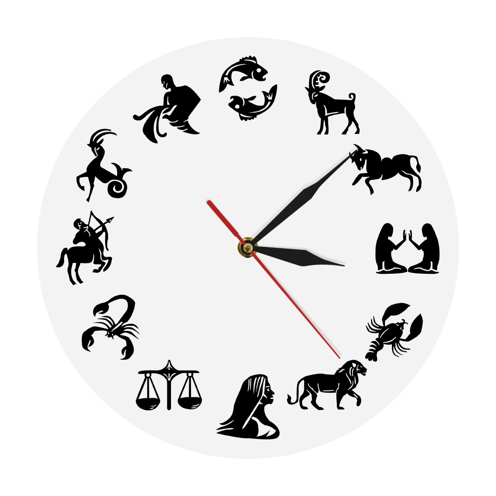 Astrology Art Wall Clock Star Signs Bedroom Nuesery Wall Decor Modern Wall Clock Zodiac Sign Wall Watch Clock Gift