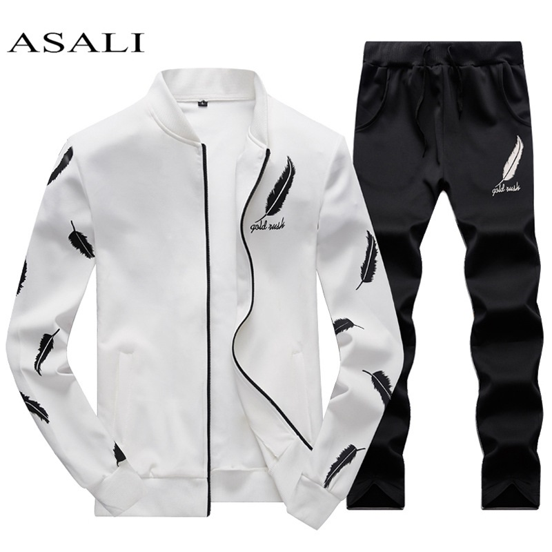 ASALI Mens Tracksuit Zipper 2020 Spring Sets Fleece Casual Men Set 3D Print Pleated Hoodies Sweatshirt Pant Suit Fitness Clothes