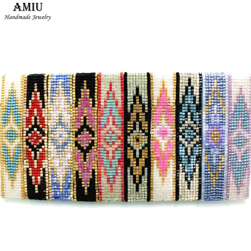 AMIU Handmade Bracelet Hippy Glass Beads Friendship Popular Woven Seed Beads Colorful Evil Eye Bracelets For Women Men 2019 Gift