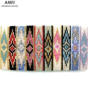 AMIU Handmade Bracelet Hippy Glass Beads Friendship Popular Woven Seed Beads Colorful Evil Eye Bracelets For Women Men 2019 Gift