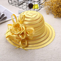 2017 Lace Summer Hat Women Kentucky Derby Wide Brim Sun Hat Wedding Church Sea Beach Hats