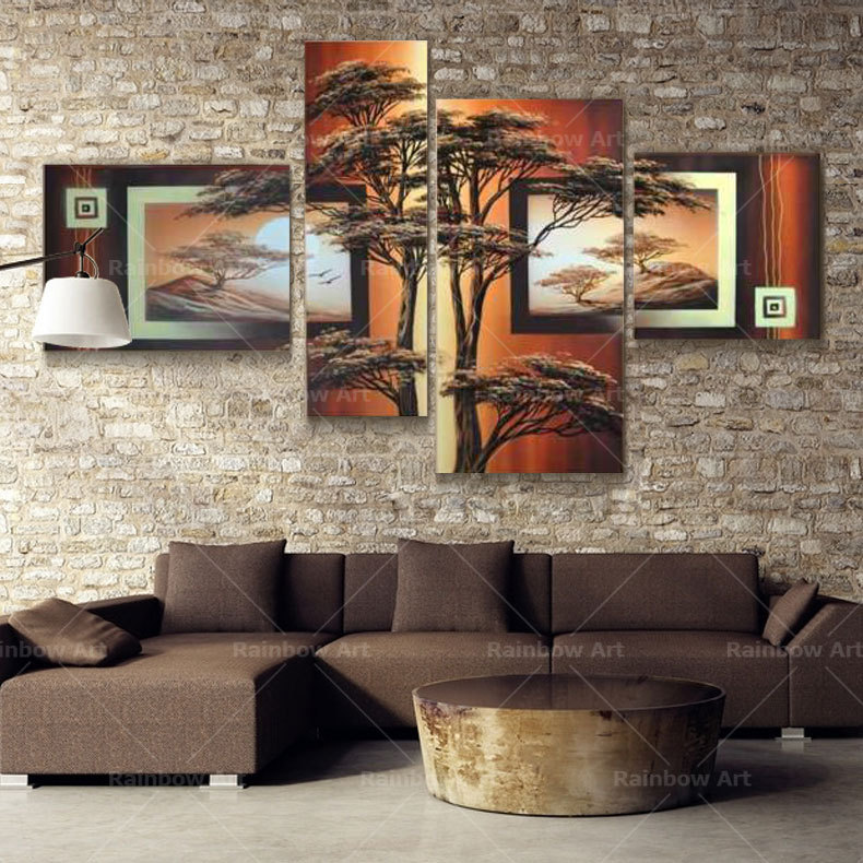 4 Pcs Handmade African Tree Landscape Oil Painting Cuadros Canvas Wall Picture For Living Room Home Cuadros Decor(No Frame)