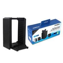 Color negro Juego disco Torre soporte Vertical para PS4 DualShock controlador estación de carga del muelle para PlayStation 4 PRO Slim