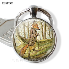 Fashion Accessories Tale of Mr. Tod Fox Keychain Keyring Cute Fox Jewelry Glass Cabochon Dome Forest Key Chain Ring Key Fob Gift