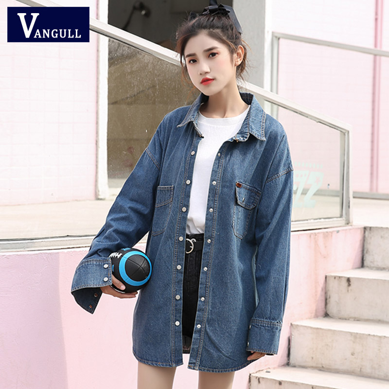 VANGULL 2019 Spring Ladies Denim   Jackets   Women Long Sleeve Turn Down Collar Jeans   Jacket     Basic   Denim Coat Long Jeans Outwear New