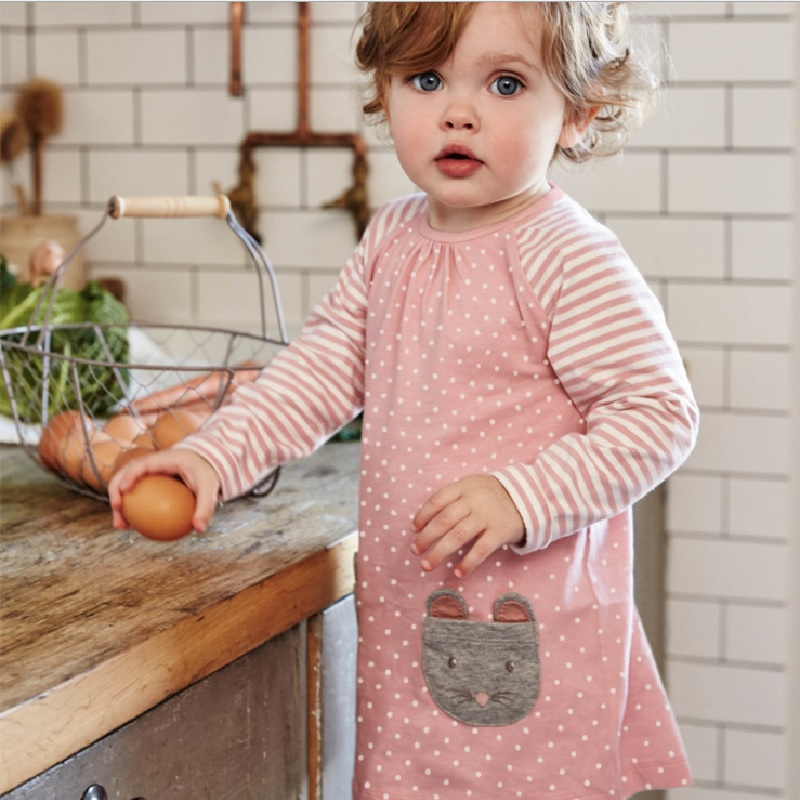 Pink Polka Dot Baby Dresses Infant One-Piece Clothes Baby Girls Clothing Children Jumpers Vestidos Tops Soft Autumn Long Shirts