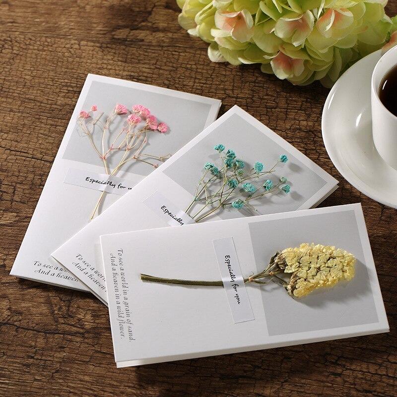 Anniversaire chaud Thanksgiving jour fête des mères carte de voeux créative vraies fleurs carte d'invitation meilleurs voeux fleur langue carte