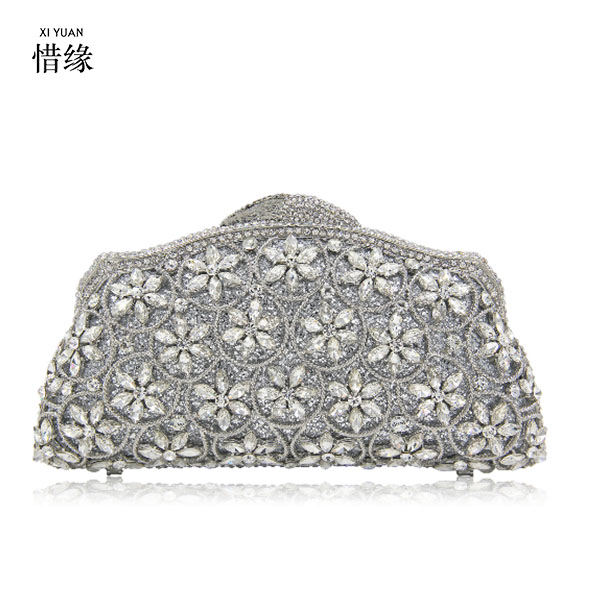 XIYUAN BRAND Fashion Women Elegant Banquet gold silver crown Evening Bags Prom Party day Clutches Bride Wedding Purses the silver crown
