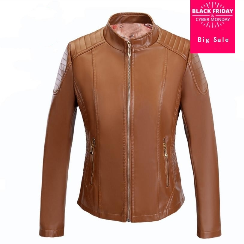 XL-6XL Plus Size 2018 Winter Womens PU   leather   jacket coat female fashion slim Warm   leather   pu motorcycle outwear L1070wholesale