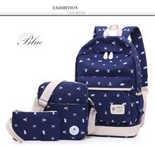 Ткань встряхнуть корейский холст печати рюкзак женщины Школьные ранцы для девочек-подростков милые bookags старинные ноутбук Рюкзаки 3 Сумки/комплект