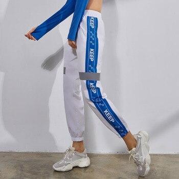 womens side stripe running pants