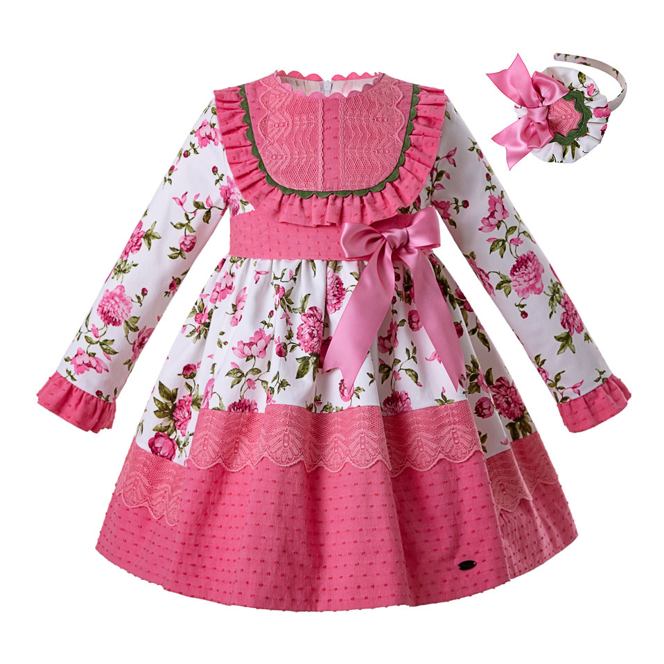 Pettigirl Wholesale Latest Vintage Pink Flower Princess Party Baby Girl Dress Kids Dresses For Girls With