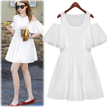 Elegant Short Butterfly Sleeve Off Shoulder Dresses White Women Jacquard Chiffon Patchwork Casual Big Yard Woman Princess Dress