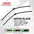 """Atualizar wiper blade para audi a4 (2000-2003) 1 conjunto de 22 """"+ 22"""", Frameless Brisas Feixe Suave Aero Plana Wiper Blades 8E2 8E5 B6 8H7"""