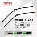 "Upgrade Wiper Blade for AUDI A4 (2000-2003) 1 set 22""+22"",Flat Aero Windscreen Frameless Soft Beam Wiper Blades B6 8E2 8E5 8H7"