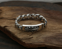 Thai Silver Genuine 925 Silver Mens Jewelry Bracelet For Men Male Thai Silver Body Flame Holy