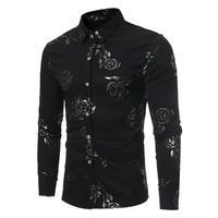 Camisas Sociais Masculina Fashionable And Upscale Temperament British Style Rose Printed Man Autumn Winter Long Sleeve
