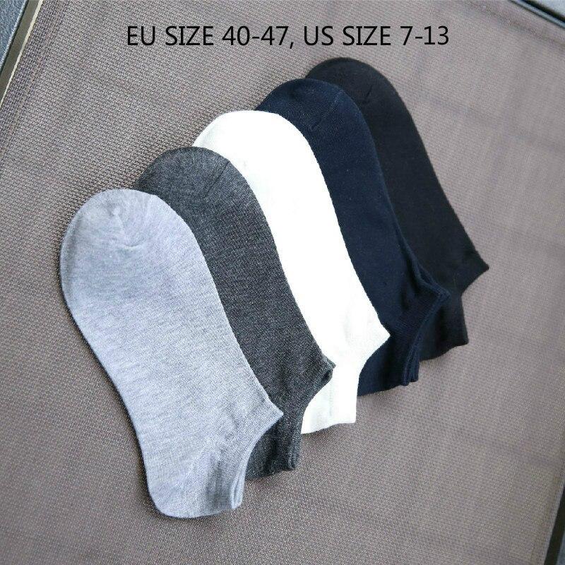 Big Size 5pairs/lot 2018 New pure color cotton men slipper socks summer high quality designer fashion boat Invisible Pantufa