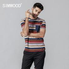 SIMWOOD 2019 Summer New Bohemian Style T-Shirt Men Fashion T